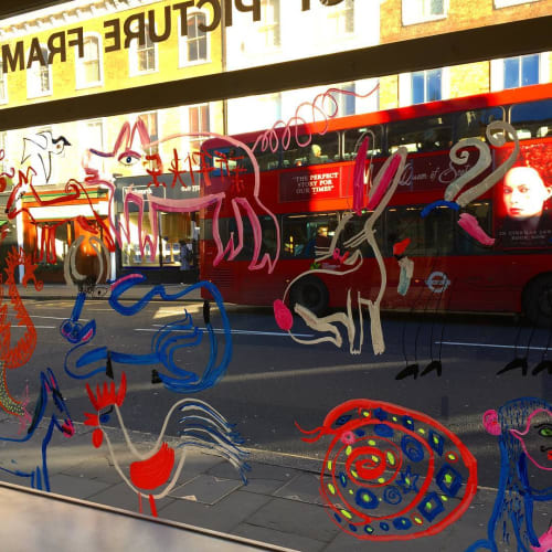 Murals by Christopher Corr seen at The Rowley Gallery, London - Zodiac  glass painting