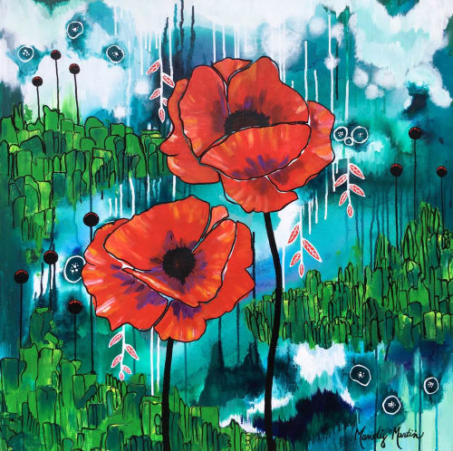 "Paintings by Mandy Martin Art seen at Private Residence, Audubon - ""What a Wonderful World"" Poppy Painting"
