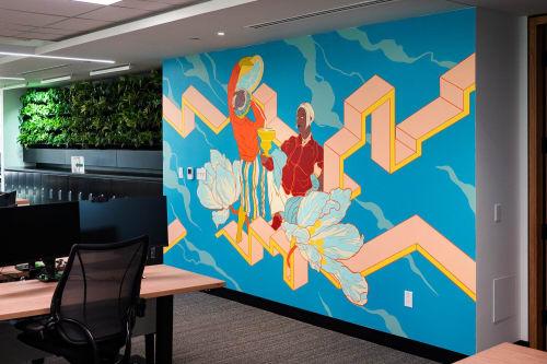 Murals by DORAS seen at BNP Paribas, Montréal - Flow 3
