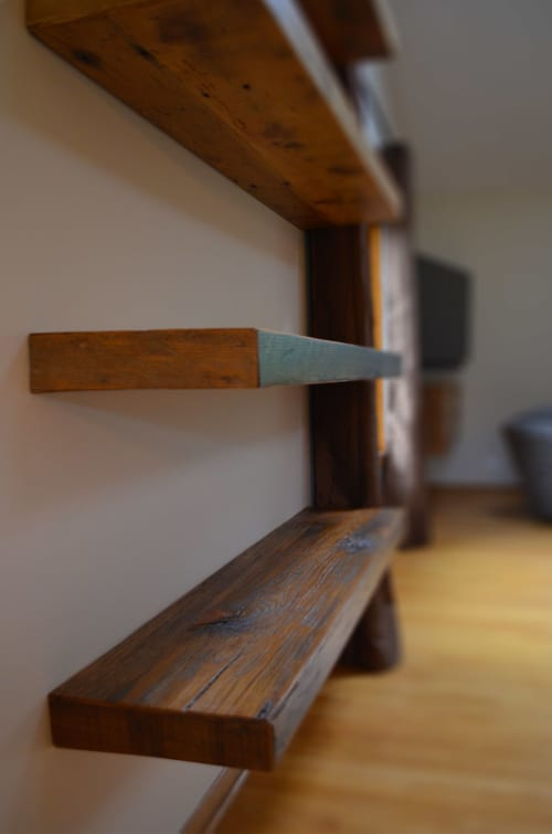 Wall Hangings by Abodeacious seen at Private Residence, New York - Rustic wood floating shelves
