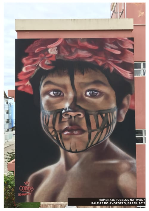 Murals by COBRE seen at Praia Palmas do Arvoredo - NATIVE CHILD