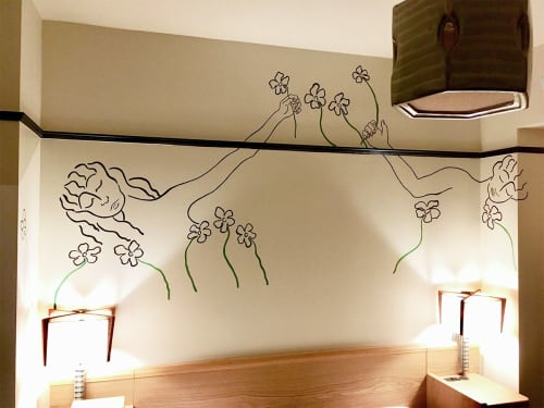 Murals by Kira Buckel seen at Freehand NYC, New York - Reaching for Flowers