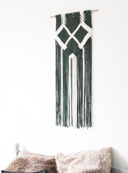 Macrame Wall Hanging by Nordanstyle seen at Cambridge, Cambridge - Green & White handmade Macrame wall decor, wall hanging