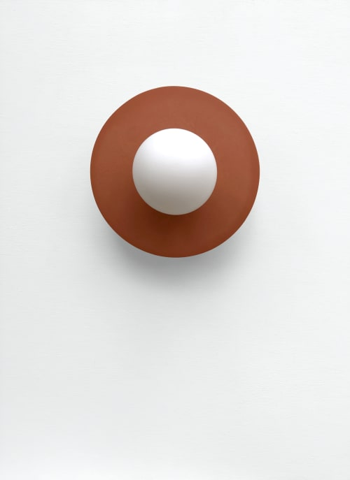 Sconces by What The Mood seen at Private Residence, Bristol - Full Moon - Terracotta | Brass Wall Light