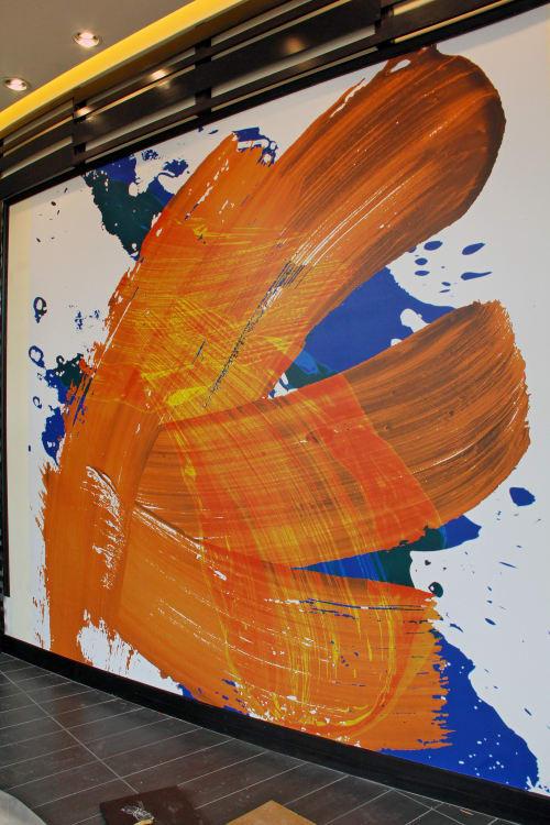Murals by Organik Creative at The Kenzie at the Domain Apartments, Austin - Orange Brushstroke