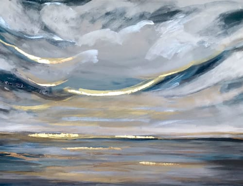 Paintings by Linnea Heide contemporary fine art seen at Private Residence - 'OCEAN' original seascape painting by Linnea Heide