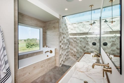 Tiles by Giovanni Barbieri at Private House in Saskatoon, Canada, Saskatoon - Hive 3D Hexagonal Tiles