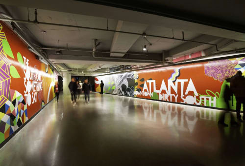 Murals by John Tindel seen at State Farm Arena, Atlanta - The People's Entrance