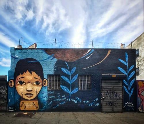 """Street Murals by Pol Corona seen at Myrtle Avenue & Dekalb Avenue, Brooklyn - """"Brooklyn-Bushwick"""" Mural"""