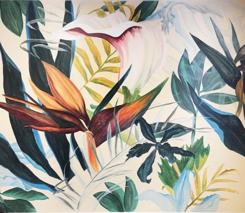 Murals by Letty Samonte seen at Ginkgo Chiropractic & Sensory Development Center, Berkeley - Tropicalia