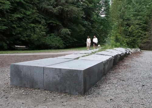 Public Sculptures by Adam Kuby seen at Mosquito Creek Trail, North Vancouver - Eventually