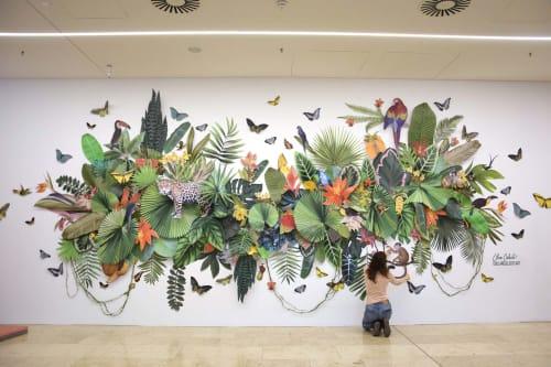 Murals by Clare Celeste seen at Riem Arcaden, München - Jungle Mural for Riem Arcaden in Munich