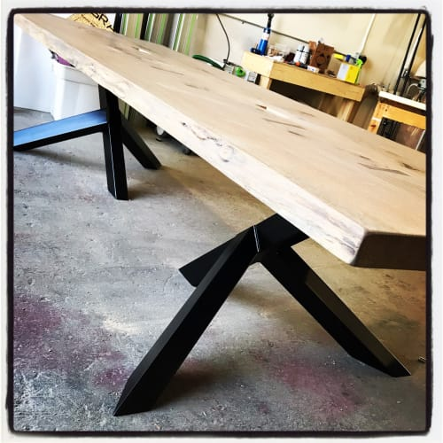 Tables by Claterpult Woodworks seen at Taylor Law Group, Langley Township - The Black Oak