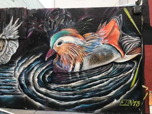 Street Murals by Max Ehrman (Eon75) seen at Sycamore Street, San Francisco - Ducks Mural