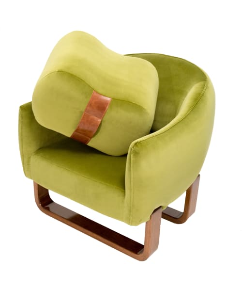 Chairs by Marie Burgos Design seen at d&d Building, New York - Milo Armchair + Milo Bean Ottoman (Moss Green)