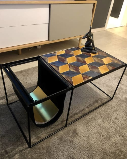 Tables by SZOEKE Ceramics seen at Private Residence, Budapest - Custom-made table top
