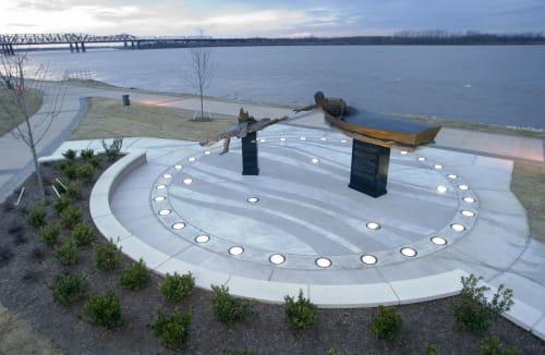 Public Sculptures by David Alan Clark Sculpture seen at Tom Lee Park, Memphis - The Tom Lee Monument
