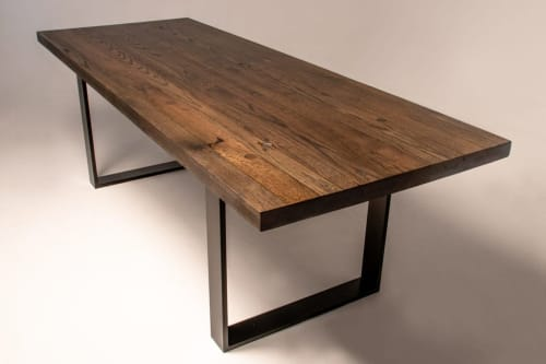 Tables by Wicked Mata seen at Letchworth Garden City, Letchworth Garden City - Ebonised Reclaimed Boxcar Dining Table