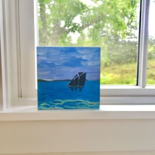 Paintings by willa vennema seen at Private Residence, Swans Island - Dark Sailed Boat