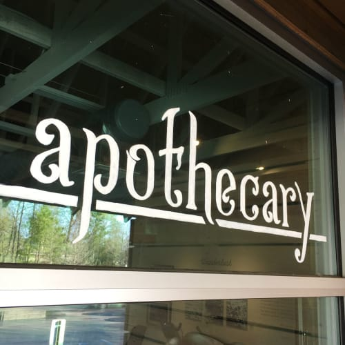 Signage by Ello Artist seen at The Healthcare Gallery & Wellness Spa, Baton Rouge - Glass Window Mural