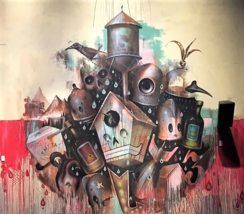 Murals by Johnny Rodriguez aka KMNDZ seen at House of Blues Anaheim, Anaheim - Robots and Bird Houses