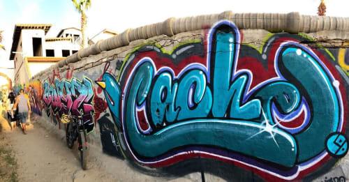 Street Murals by Cache seen at Monalisa Beach RV Park, Ensenada - Graffiti Mural