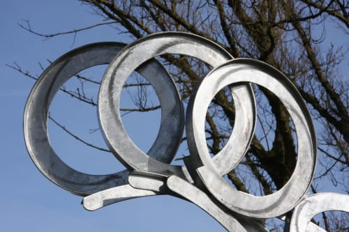 Public Sculptures by Adrian Moakes seen at Brookdale Park, Manchester - Catching Air