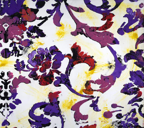 Art Curation by Margaret Lanzetta seen at Private Residence, New York - Floral textile patterns rendered painterly in shades of red, magenta, purple and orange. Active background of electric yellow splashes
