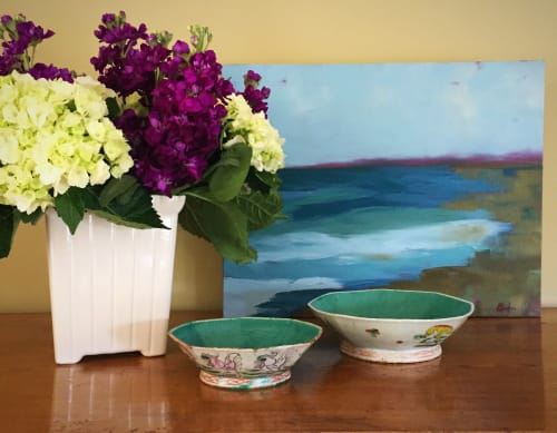 Art Curation by Janet Bludau Fine Art seen at Private Residence, Newport Beach - Original Oil Commissioned for private home
