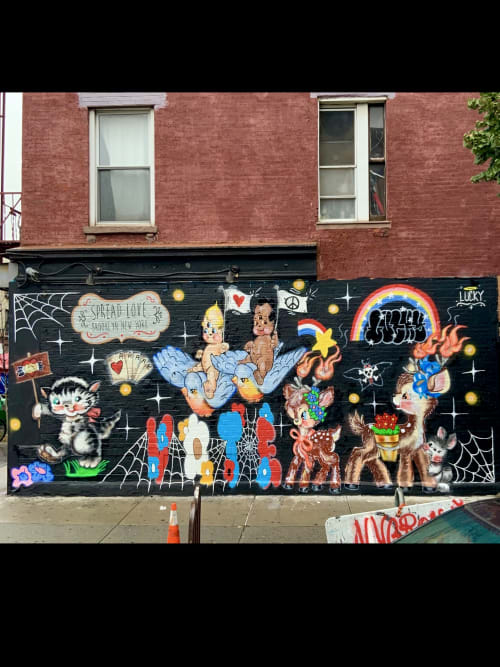 Murals by Lucky Rabbit seen at North 6th Street, Brooklyn - Vote for love & the environment