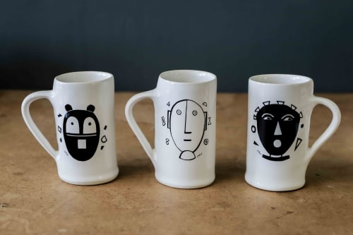 Cups by Clementina Ceramics seen at Clementina Ceramics Studio, Cape Town - The Mask Series - Mugs