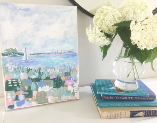Paintings by Michelle Brunner seen at Private Residence, Perrysburg - Abstract Sailboat art