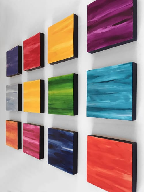 Paintings by Paula Gibbs seen at Artist Studio, Tucson - Wall of Color, Multicolor, 12 panels, by Paula Gibbs