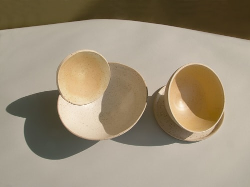 Ceramic Plates by HOJI CERAMICS seen at Private Residence, Barcelona - Helado Yellow Set