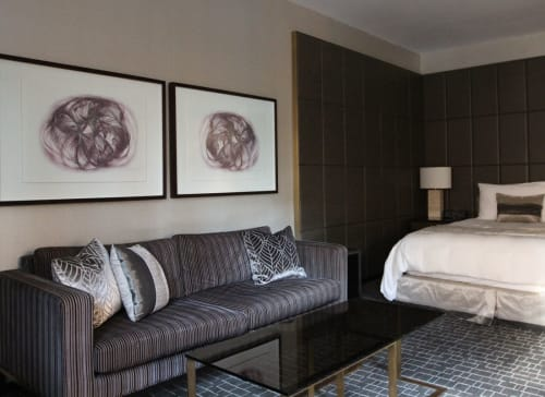 Paintings by Margaret Kisza seen at The Hazelton Hotel, Toronto - Spiro Diptych