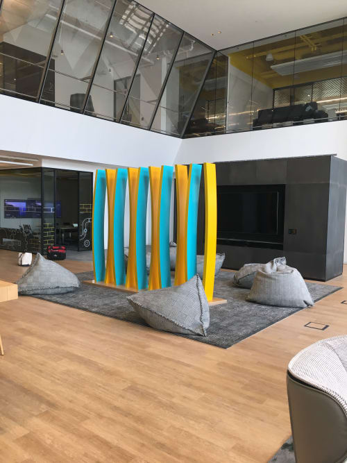 Sculptures by Dennis Beach Studios seen at Comcast Technology Center, Philadelphia - Curve #10