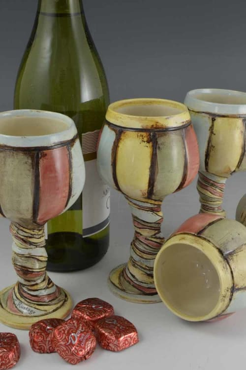 Cups by Geometric Illusion Ceramics (Tania Rustage) seen at Private Residence, Calgary - Whimsical Ceramic Twisted Stem Wine Goblets