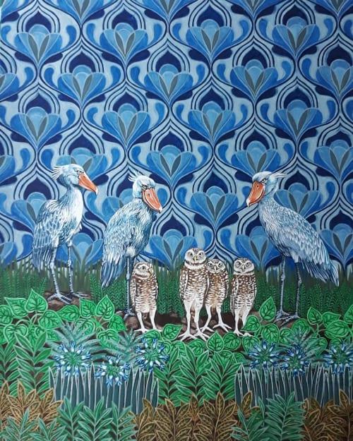Paintings by Sarah Pratt seen at Sarah Pratt Studio, Cape Town - Shoebill Storks