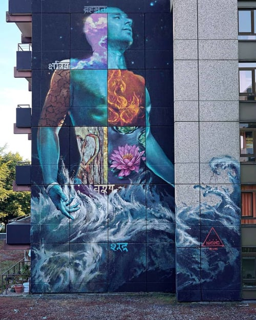 """Murals by ART BY NASIMO seen at Yoga Vidya Campus Bad Meinberg, Horn-Bad Meinberg - """"All in one, one in all"""""""