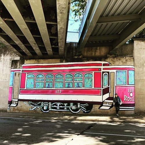 Murals by Mariel Pohlman at Cedar Springs Road, Dallas - Rosie the Trolley
