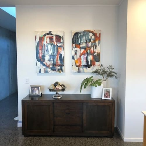 Paintings by Kirsty Black seen at Private Residence, Auckland - Jungle Skulk and Jungle Stalk