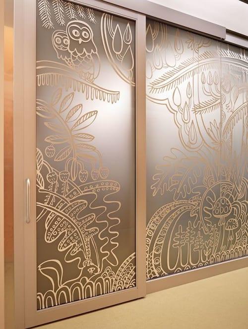 Murals by KittenChops Illustration seen at Bellevue Clinic and Surgery Center - Seattle Children's, Bellevue - DIVERSITY MURAL ON GLASS