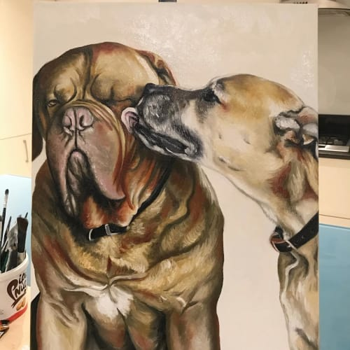 Paintings by Steph Carr Design seen at Creator's Studio, Richmond - Double Pet Portrait Painting