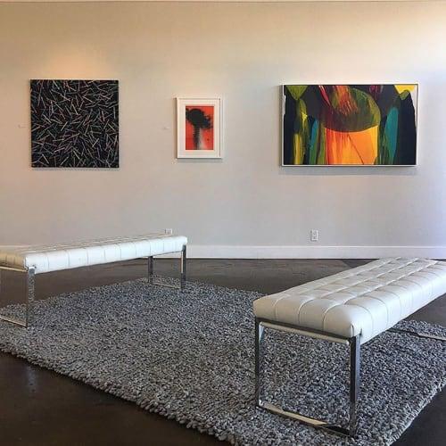 Paintings by Emeline Tate seen at Janssen Artspace, Palm Springs - Kerplunk