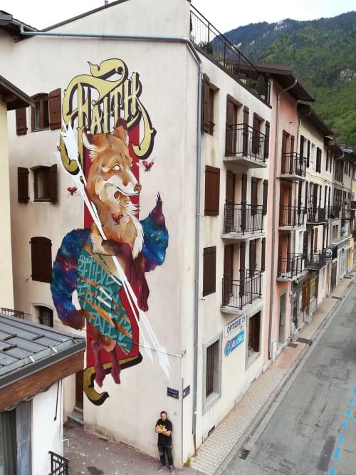 Street Murals by Tank & Popek seen at Moûtiers, Moûtiers - Don't Believe in FairyTales