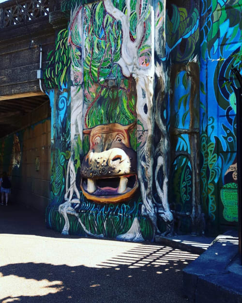 Murals by Paul Santoleri seen at Philadelphia Zoo, Philadelphia - happy Hippo In A Jungle