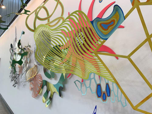 "Sculptures by Wendy Letven seen at URBN Building 543, Philadelphia - ""Flowtopia II"""