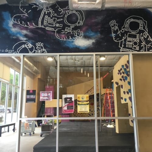 Murals by Avery Orendorf at Crux Climbing Center, Austin - I Just Need Some Space