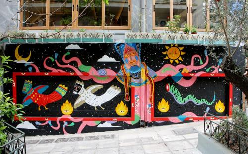 Murals by Pakal seen at Athens, Athens - Pakal meet the Minoans