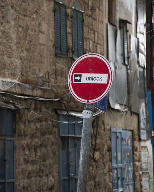 Public Art by Octavi Serra seen at HAMIFFAL, Jerusalem - First project (UNLOCK signpost)